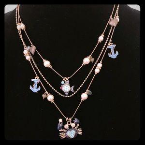 Betsey Johnson Triple Tierd Crab Charm Necklace